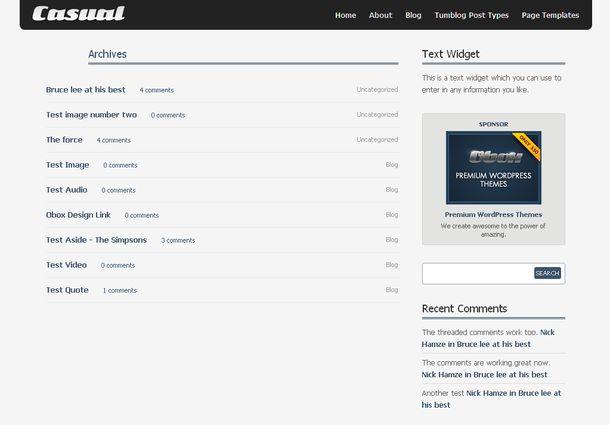 Страница с архивом записей - WordPress тема Casual