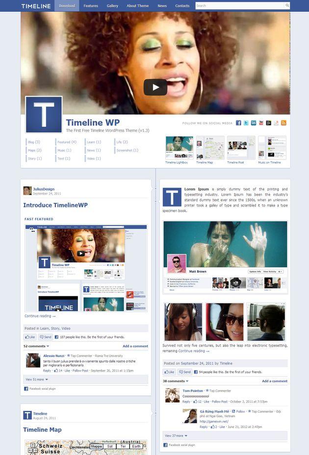 Wordpress тема в стиле facebook