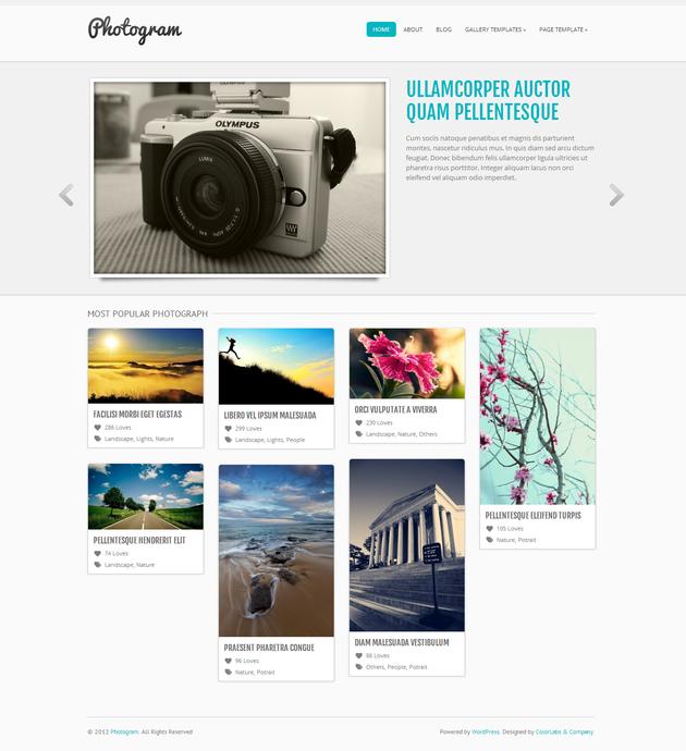 Photogram бесплатная wordpress тема для сайта фотографа